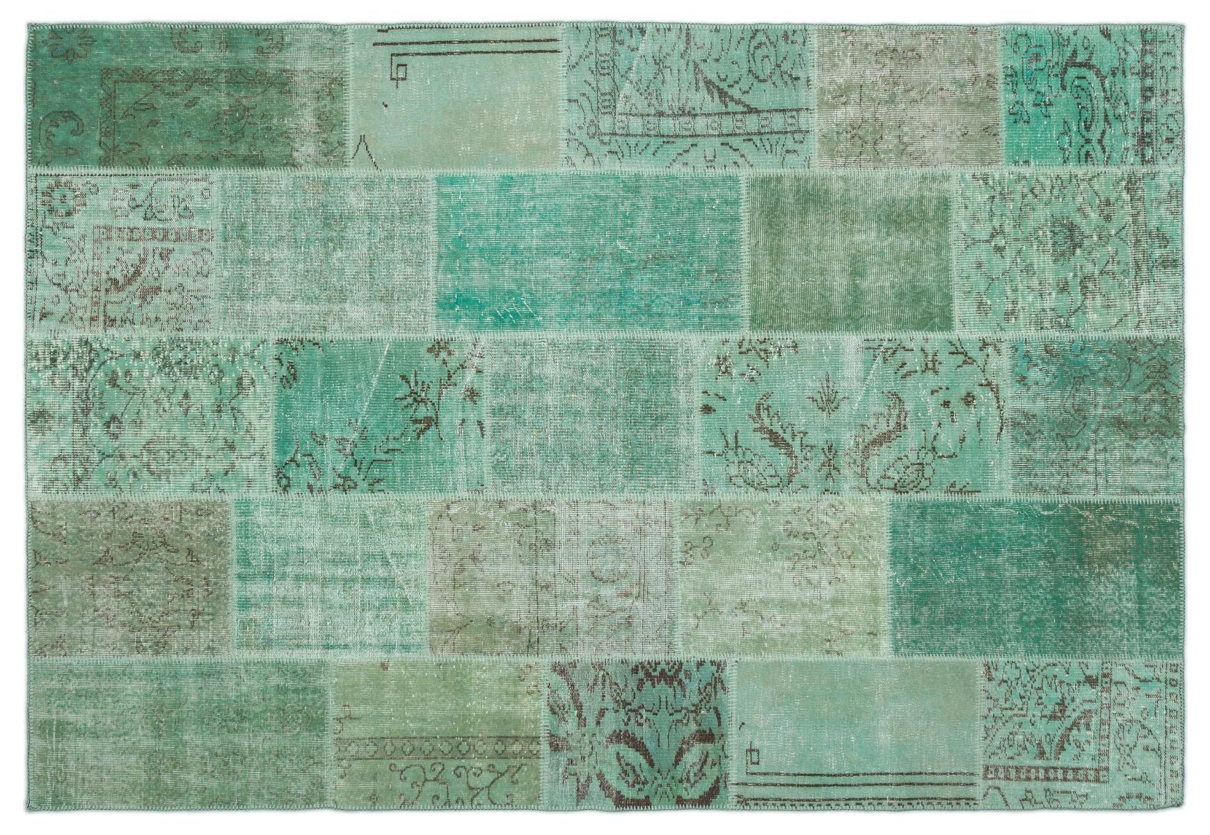 patchwork vloerkleed groen nr.20868 282cm x 195cm