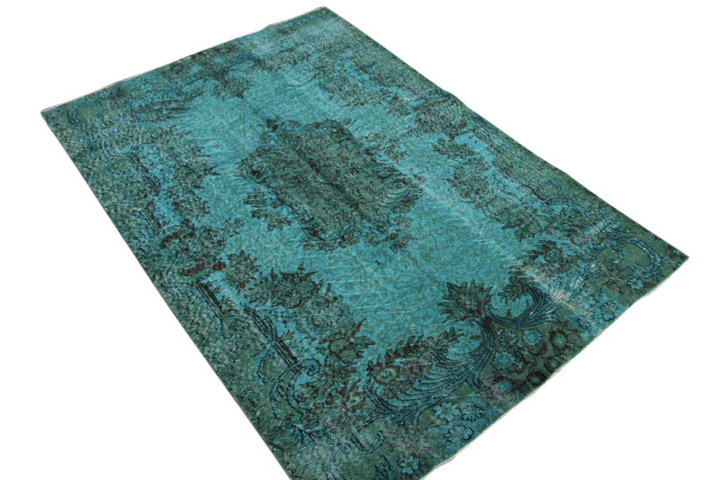 VERKOCHT zeegroen recoloured vintage vloerkleed 247cm x 170cm, no 2106 VERKOCHT