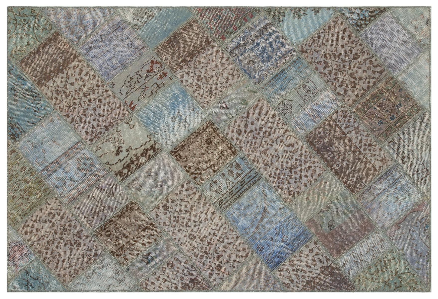 patchwork vloerkleed blauw, grijs nr.21591 233cm x 160cm