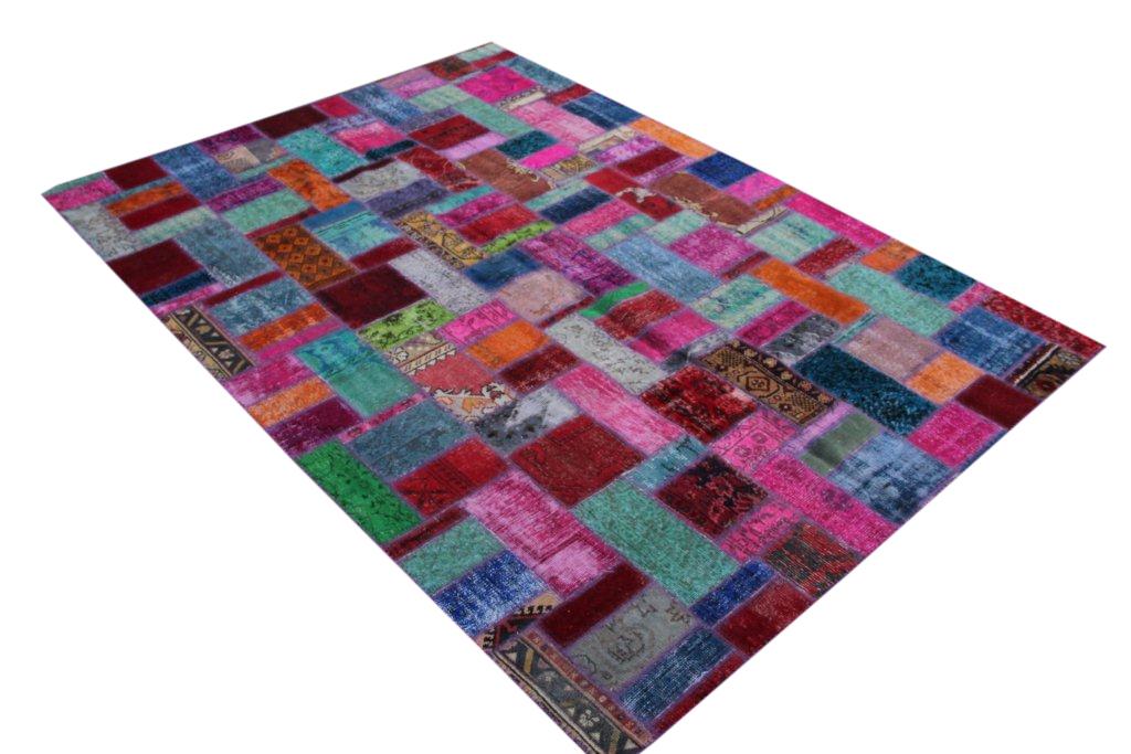 Multi color patchwork vloerkleed uit Turkije 297cm x 214cm, no 270 handgemaakt van oude Turkse kleden.