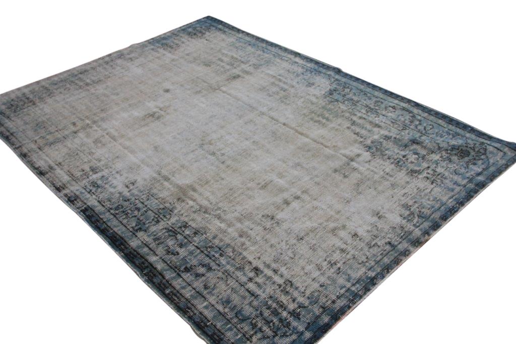 NIEUW BINNEN Versleten look blauw vloerkleed  uit Turkije 288cm x 220cm, no 273