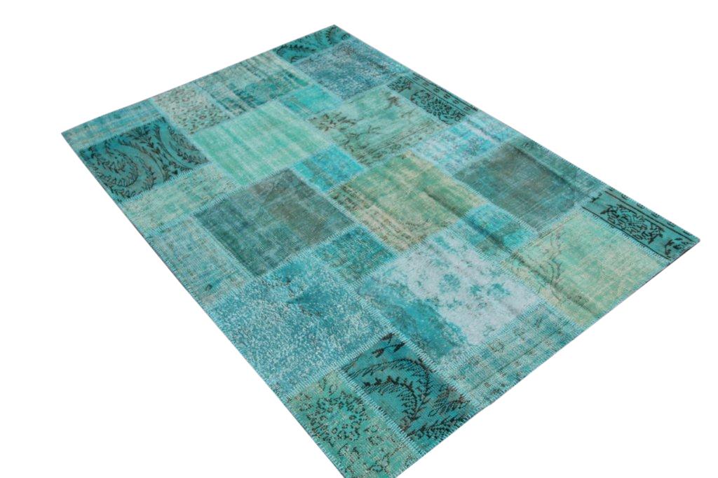 Blauw patchwork vloerkleed 0028 (240cm x 170cm)  VERKOCHT HAPPY PANDA