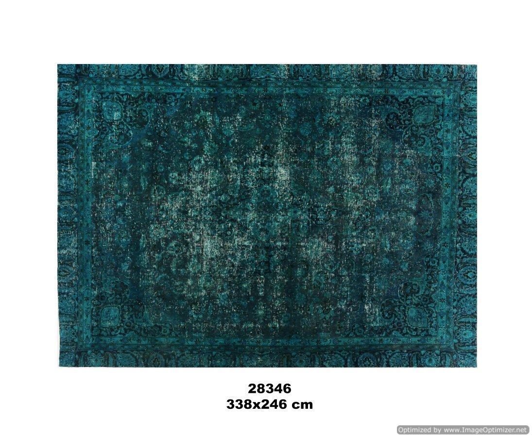 Groen blauwe kleurig recoloured vloerkleed no 28346 (338cm x 248cm) vloerkleed wat een nieuwe hippe trendy kleur heeft gekregen.