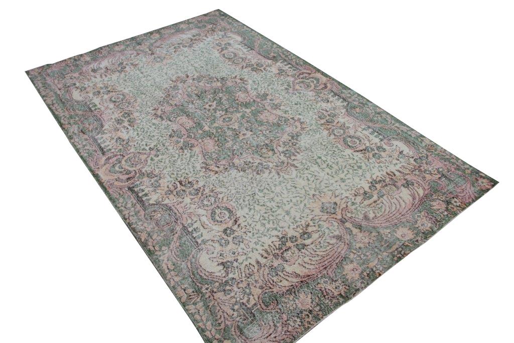 NIEUW BINNEN groen met roze vloerkleed  uit Turkije 303cm x 198cm, no 289