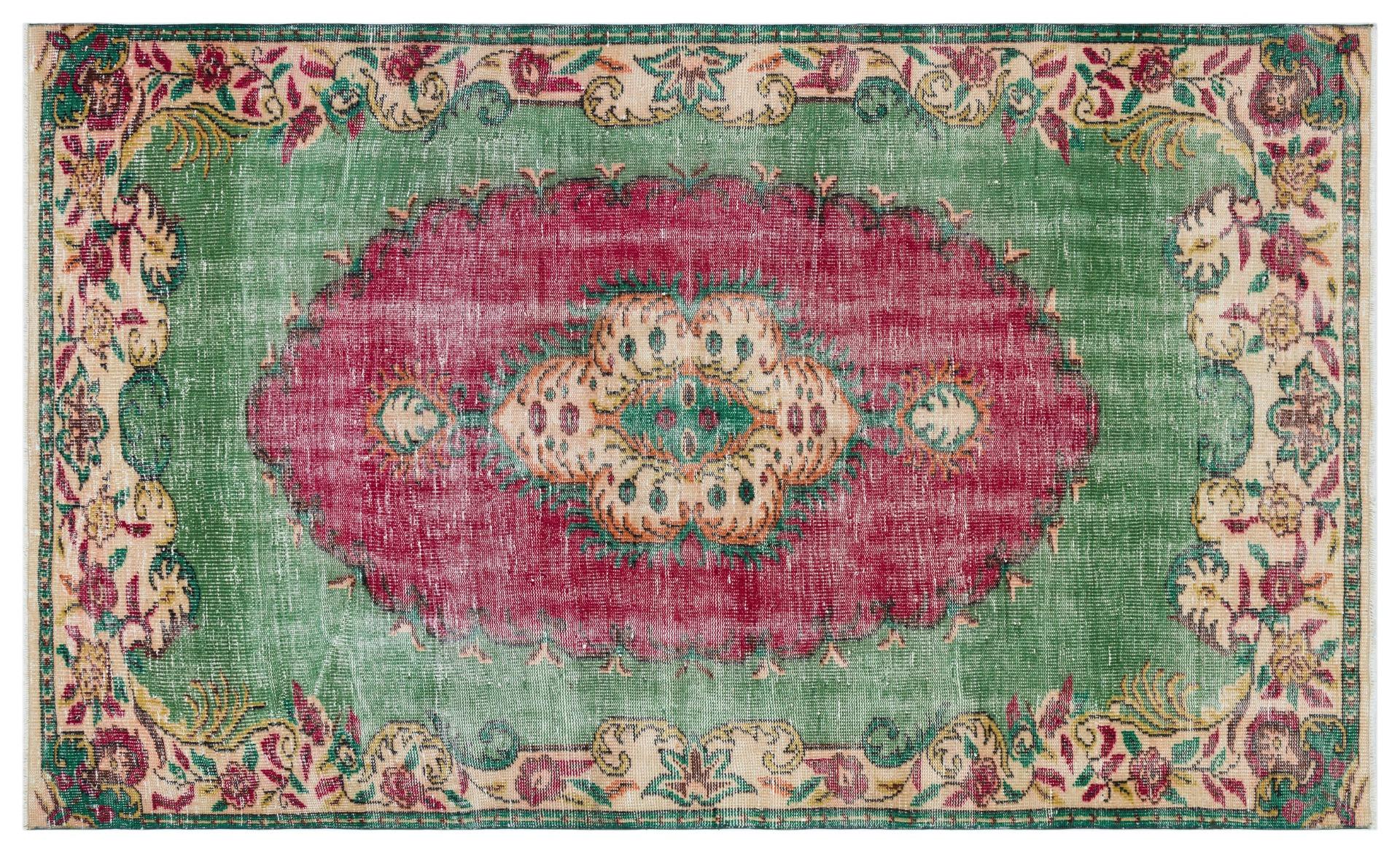 Vintage vloerkleed groen met rood