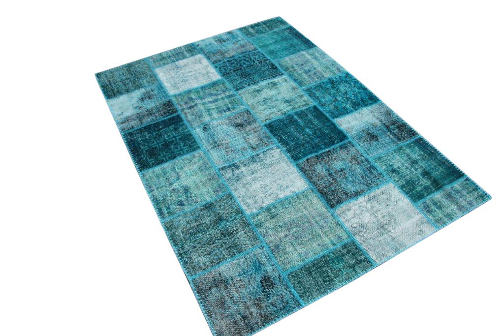 Blauw patchwork vloerkleed 0029 (240cm x 170cm) gemaakt van oude recoloured vloerkleden