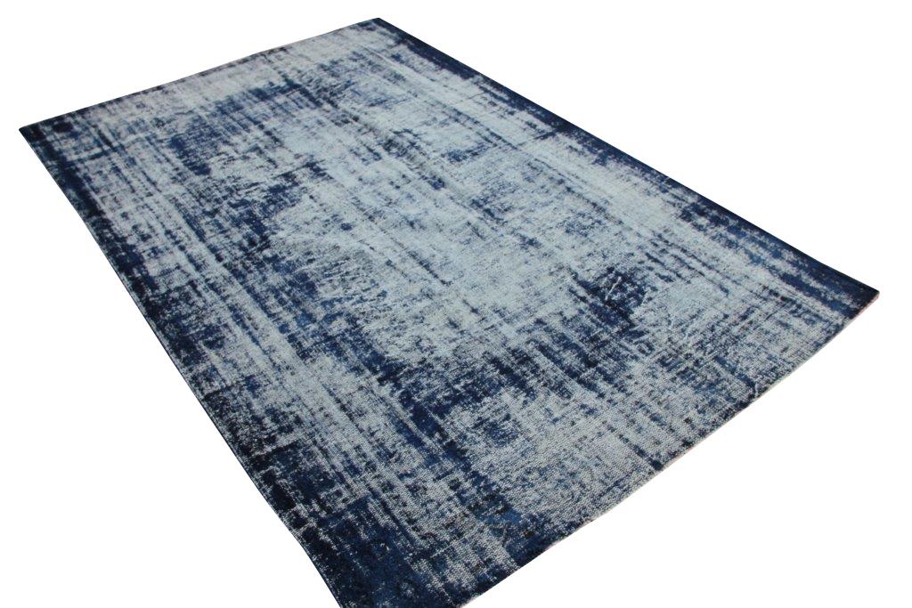 NIEUW BINNEN Versleten look donkerblauw vloerkleed  uit Turkije 322cm x 213cm, no 293