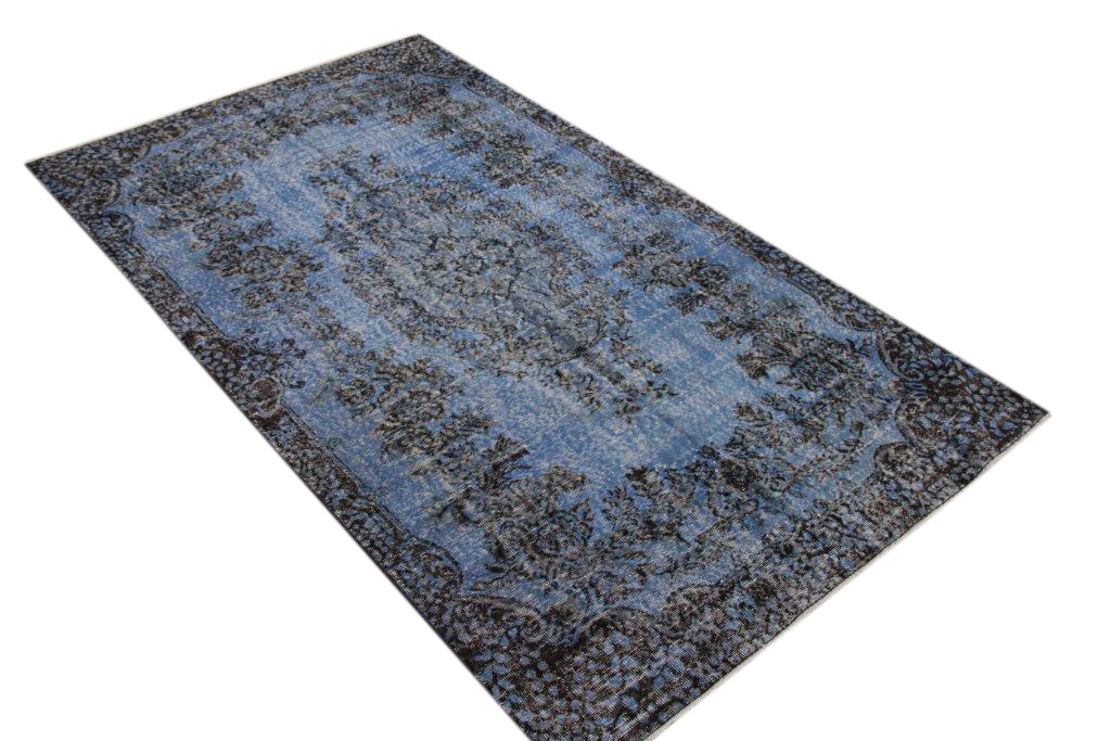 Recoloured  blauw vintage vloerkleed  uit Turkije 290cm x 167cm, no 295