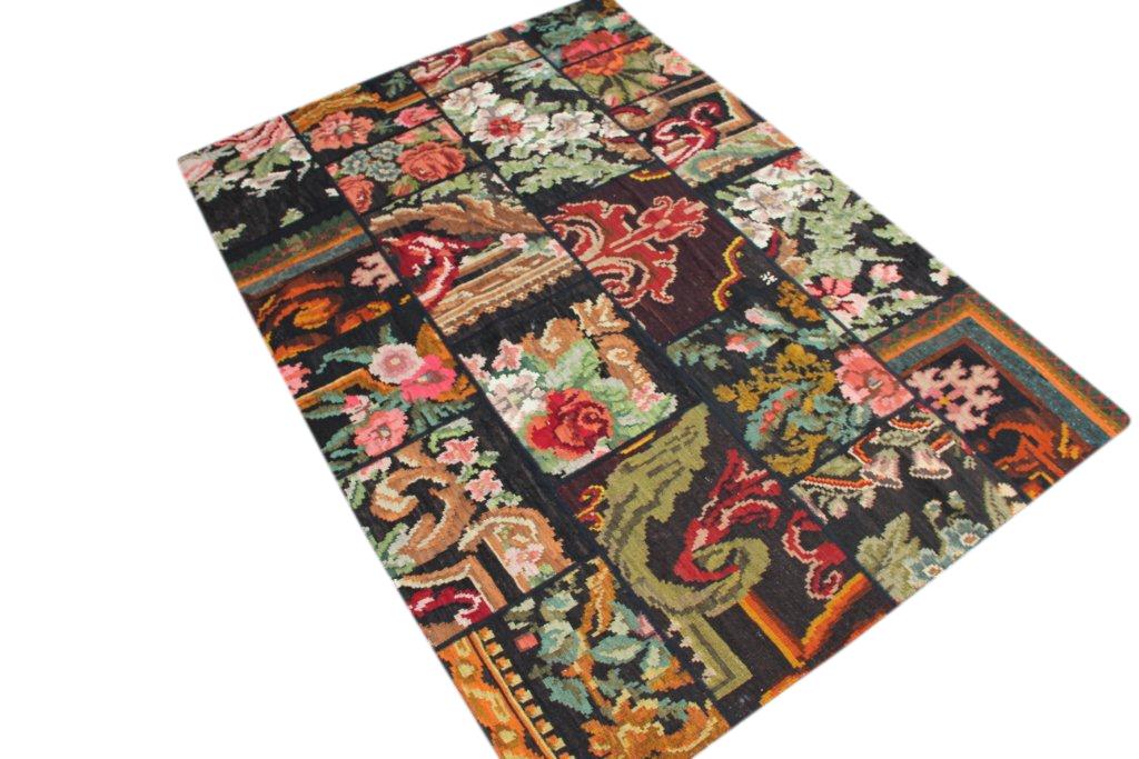 Patchwork vloerkleed, rozenkelim, 242cm x 170cm