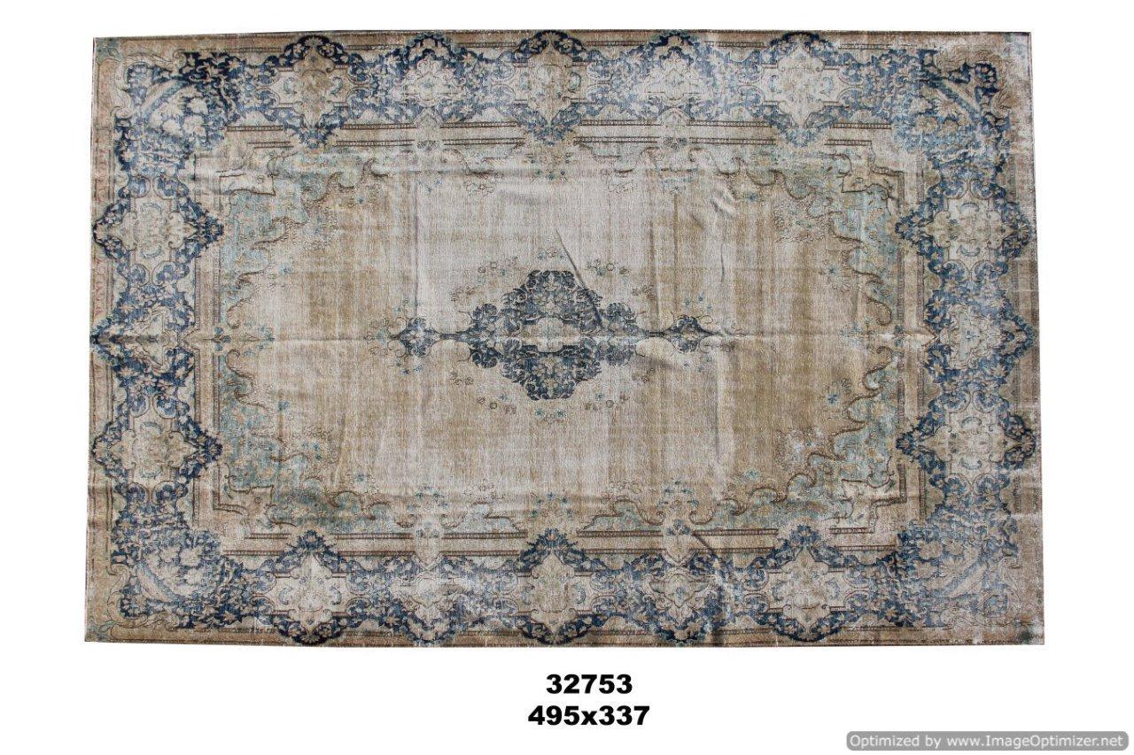 Beige authentieke tapijt no 32753(495cm x 337cm) groot vloerkleed wat een nieuwe hippe trendy kleur heeft gekregen.