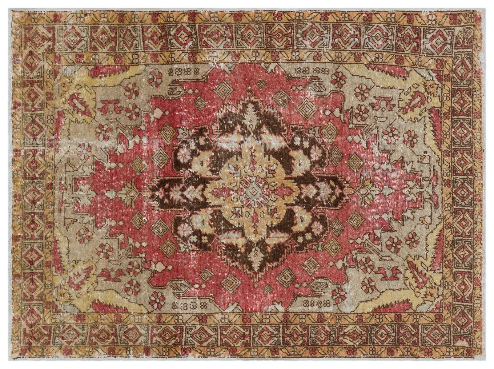 Vintage vloerkleed rood met geel