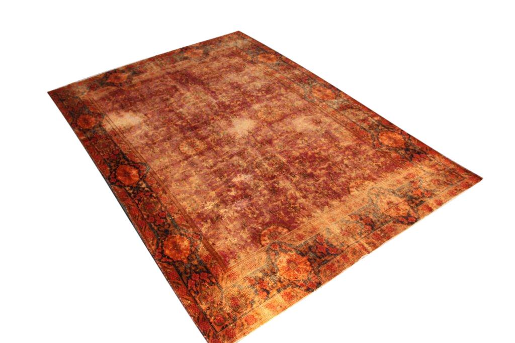 Vintage klassiek vloerkleed  uit Iran nr 34192 ( 285cm x 192cm) tapijt wat een nieuwe hippe trendy kleur heeft gekregen. VOS