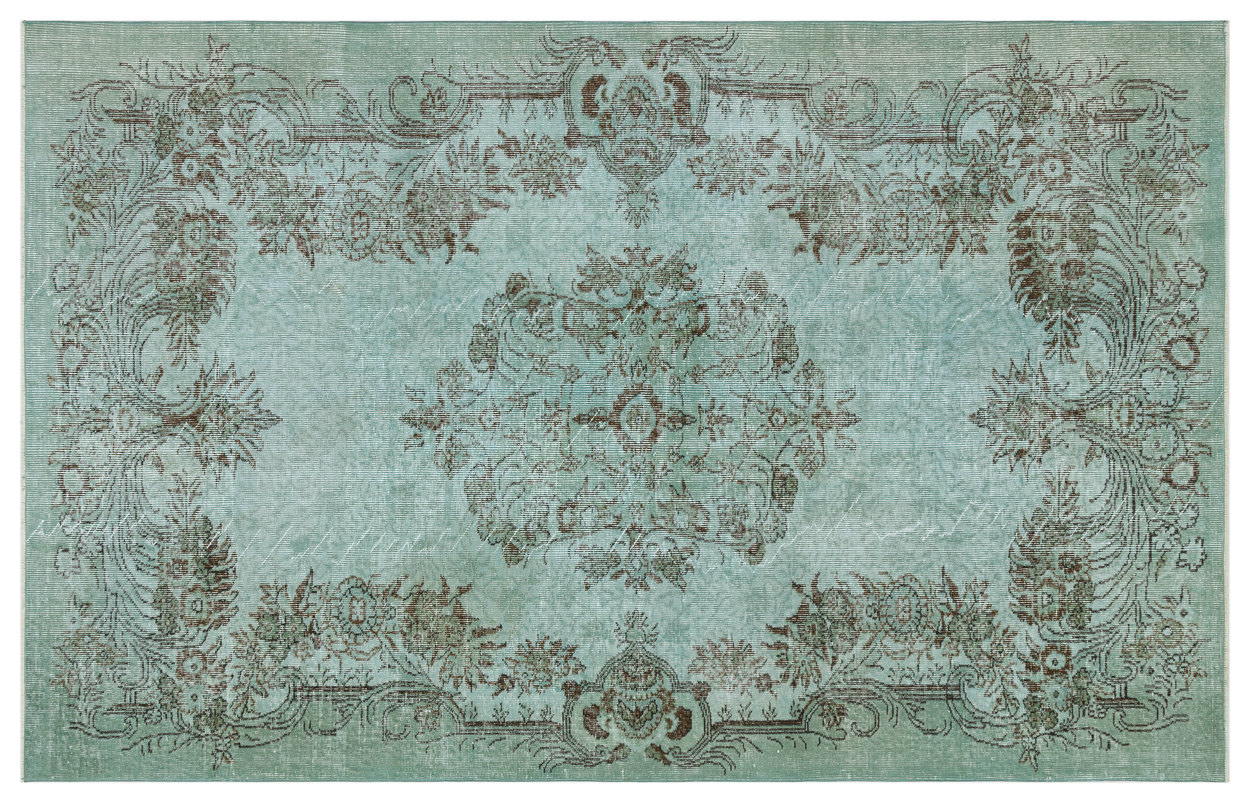 Vintage vloerkleed groen 34385 271cm x 174cm