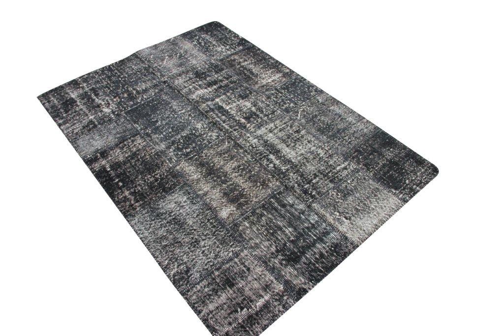 Zwart patchwork vloerkleed 3590 (240cm x 170cm) gemaakt van oude recoloured vloerkleden