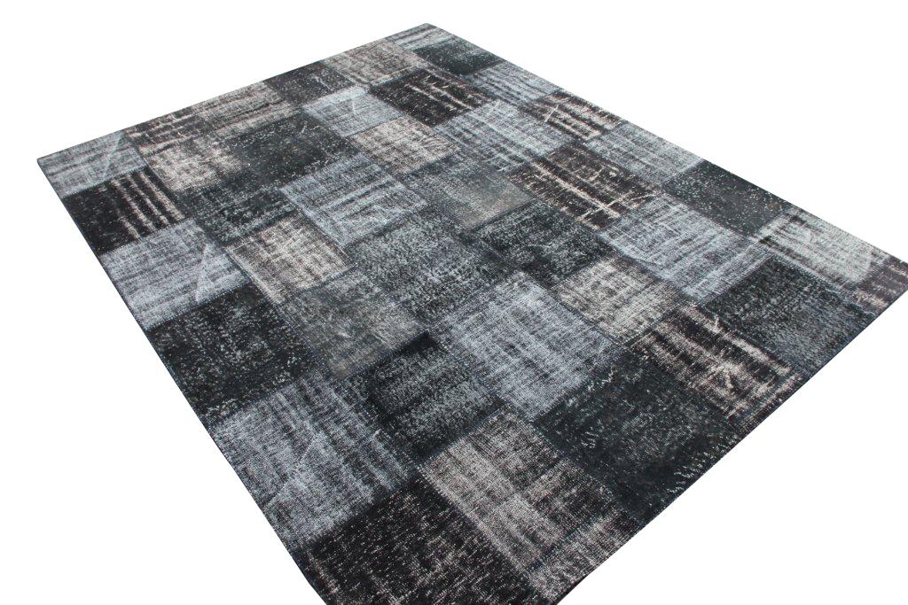 Grijs zwart patchwork vloerkleed 36D (352cm x 271cm) Verkocht!