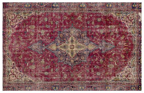 vintage vloerkleed roze rood groen bruin 17276 273cm x 152cm