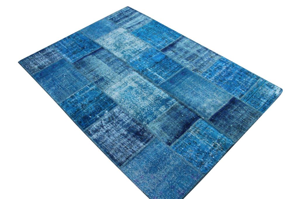 Blauw patchwork vloerkleed 3970 (240cm x 170cm) gemaakt van oude recoloured vloerkleden