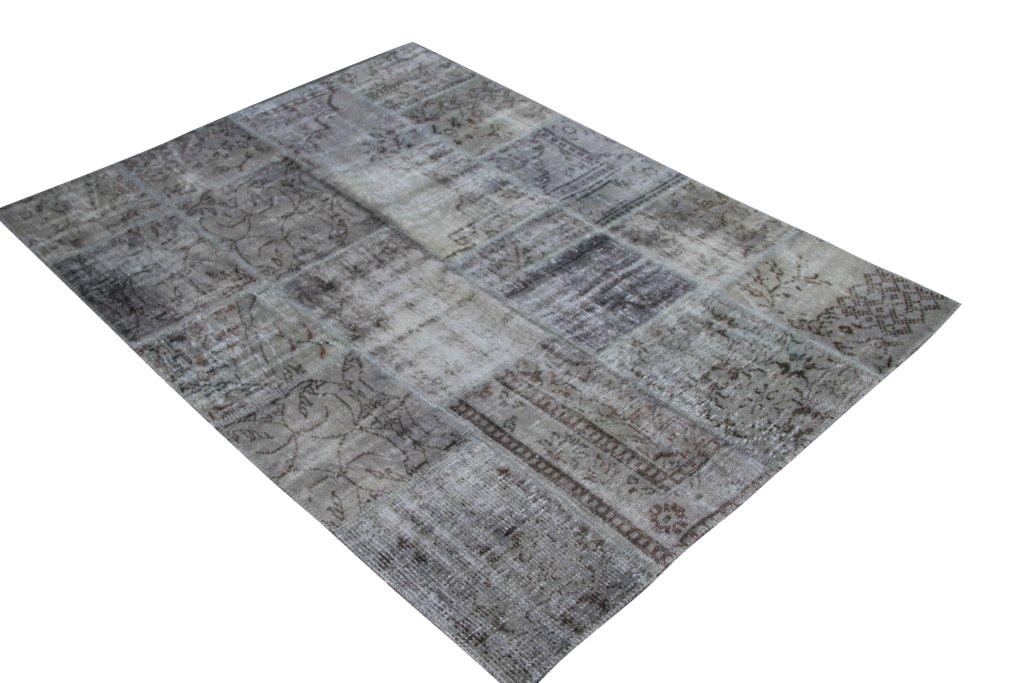 Grijs patchwork vloerkleed 3971 (240cm x 170cm) gemaakt van oude recoloured vloerkleden