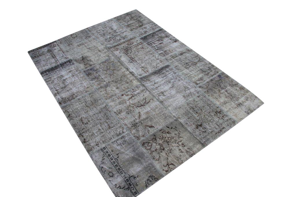 Grijs patchwork vloerkleed 3972 (240cm x 170cm) gemaakt van oude recoloured vloerkleden