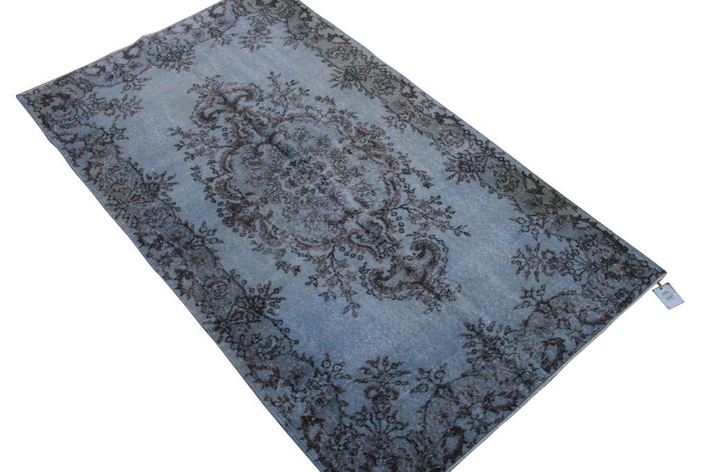 Blauw recoloured vintage vloerkleed 212cm x 121cm, no 4085