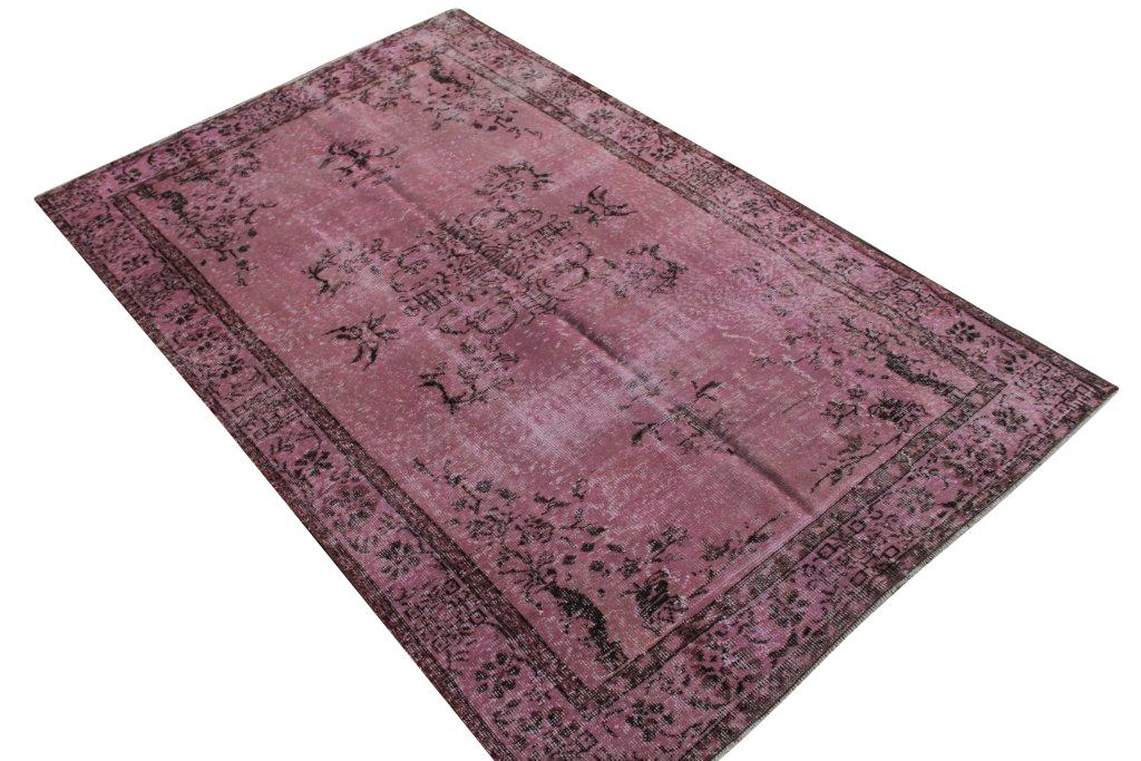 Oud roze recoloured vintage vloerkleed 271cm x 171cm, no 4109