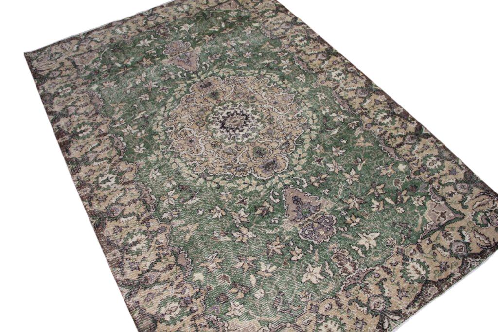 Recoloured vintage vloerkleed met groen uit Turkije 285cm x 195cm, no 4130