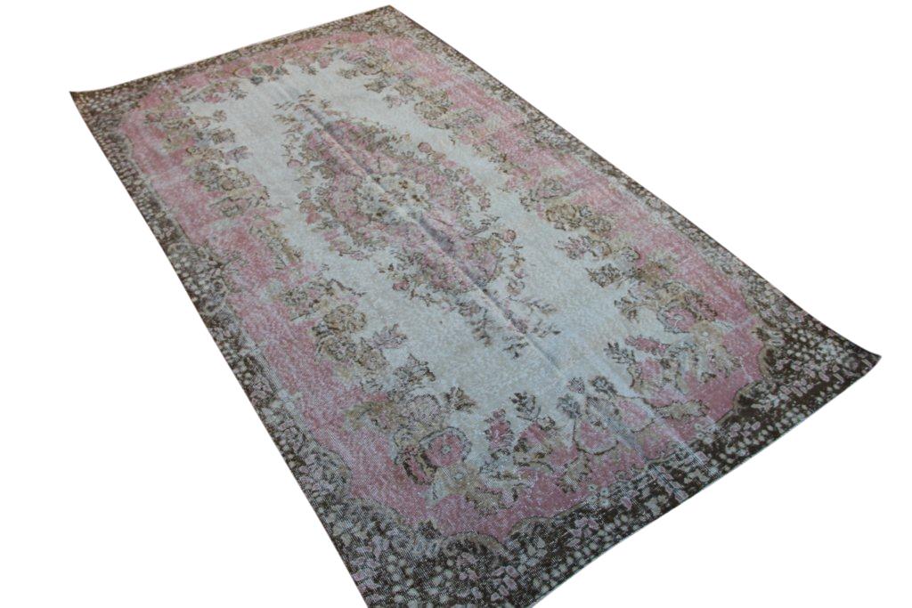 NIEUW BINNEN roze met bruin vintage vloerkleed  uit Turkije 296cm x 167cm, no 4305