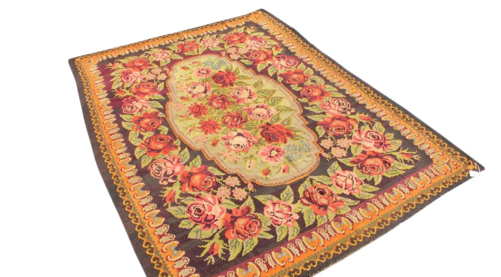Kelim met rozen nr 4315 (237cm x 336cm) Handgeweven kelim in perfecte staat 30 tot 80 jaar oud.