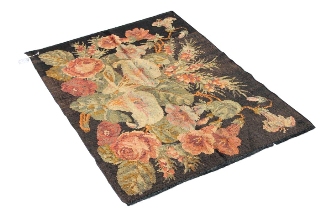 Kelim met rozen nr 4351 (157cm x 116cm) Handgeweven kelim in perfecte staat 30 tot 80 jaar oud.