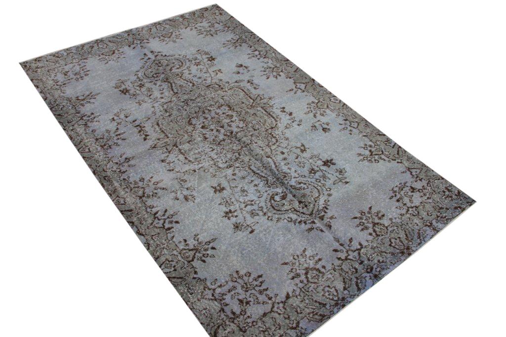 Grijs blauw vintage vloerkleed  uit Turkije 255cm x 157cm, no 4364