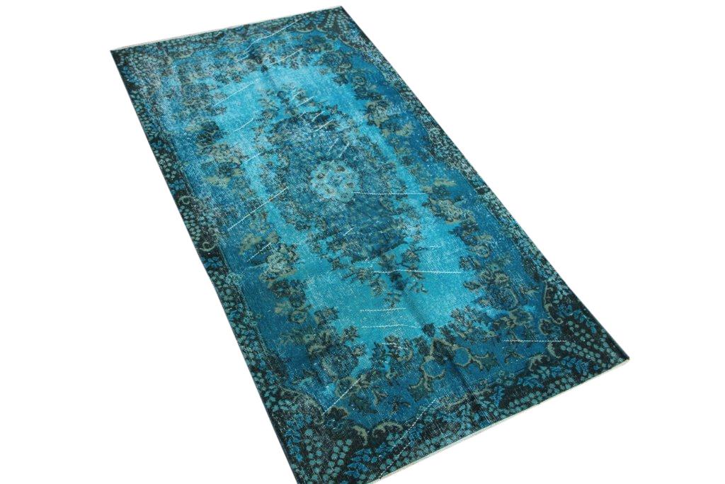 Vintage vloerkleed fel blauw uit Turkije 216cm x 116cm, no 4410