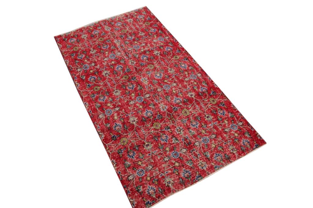Rood vintage vloerkleed uit Turkije 207cm x 118cm, no 4411