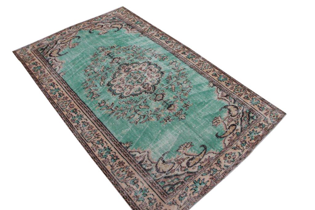 Vintage vloerkleed met groen uit Turkije 273cm x 172cm, no 4413