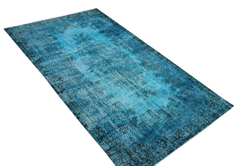 Fel blauw vintage vloerkleed uit Turkije 293cm x 170cm, no 4415