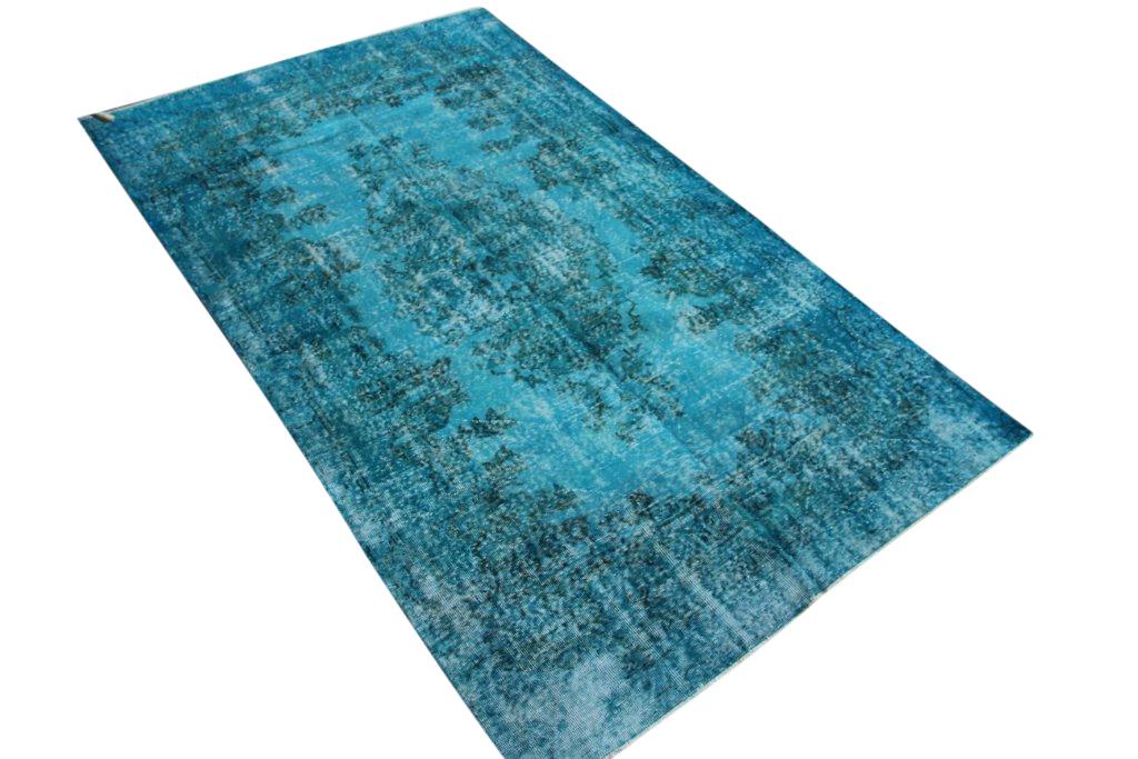 Fel blauw vintage vloerkleed uit Turkije 277cm x 165cm, no 4416