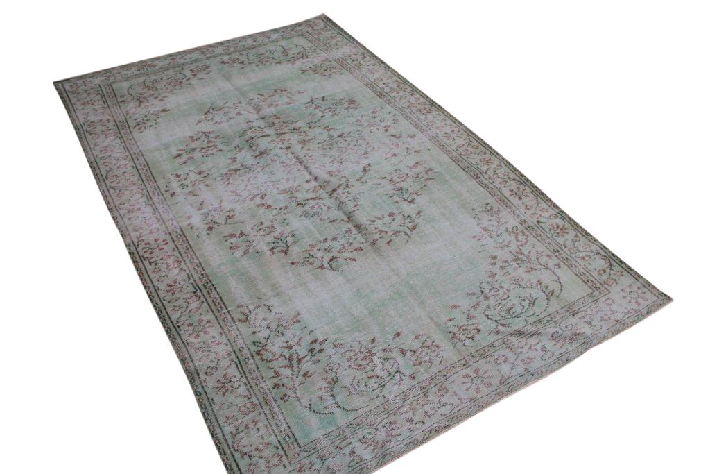 VERKOCHT mintgroen vintage vloerkleed uit Turkije 300cm x 187cm, no 4417