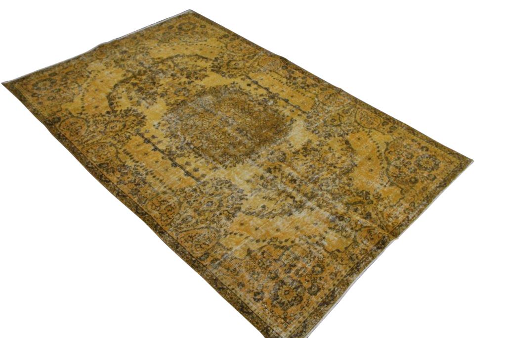 Geel vintage vloerkleed nr 4425 ( 263cm x 172cm)
