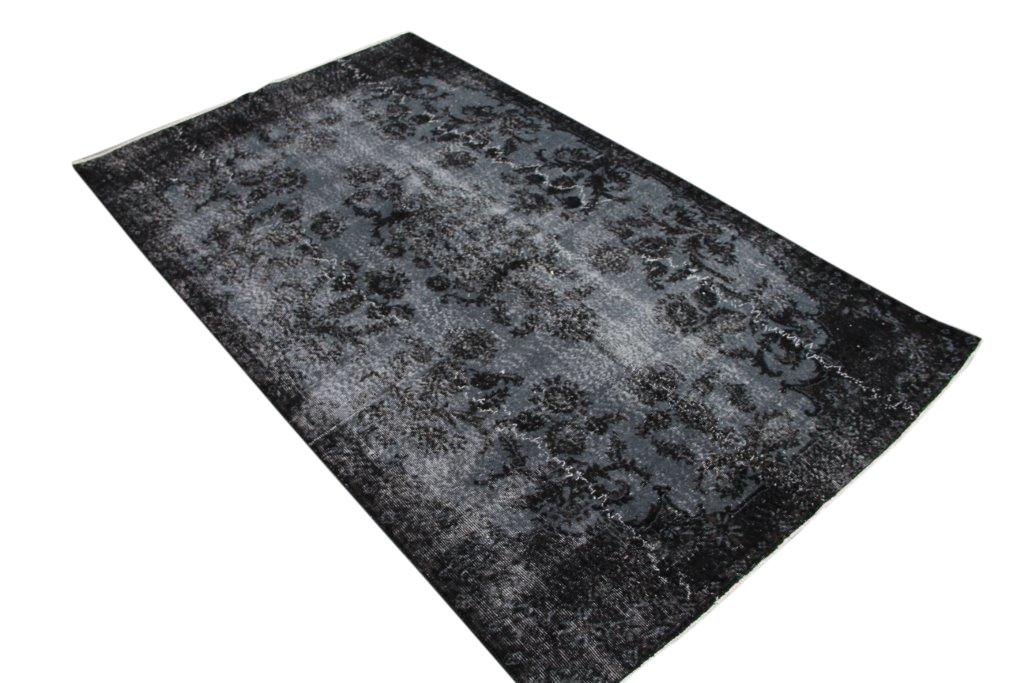 Antraciet zwart vintage vloerkleed  nr 4429 ( 293cm x 170cm)