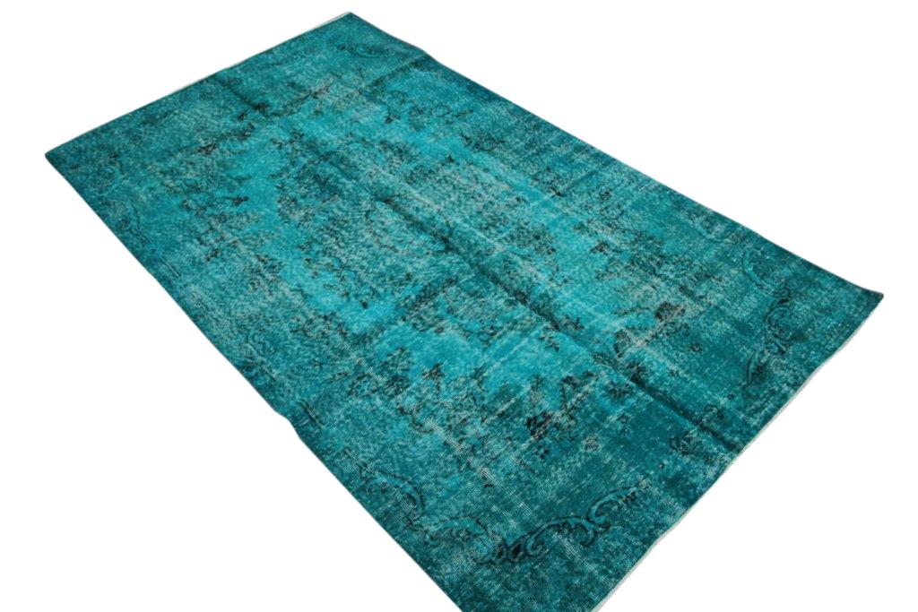 Verkocht!  blauw vintage vloerkleed  nr 4430 ( 274cm x 163cm)