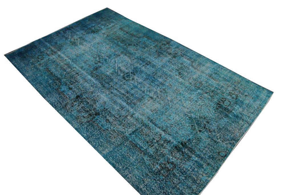 Blauw vintage vloerkleed  nr 4431( 299cm x 186cm)