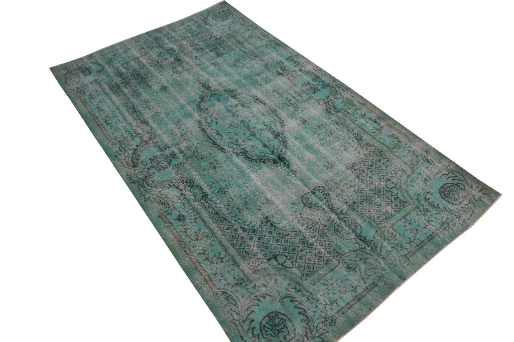 Groen blauw vintage vloerkleed  nr 4434( 270cm x 161cm)