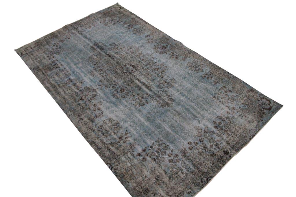 Grijsblauw vintage vloerkleed  nr 4437( 281cm x 166cm)