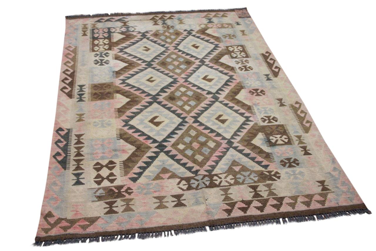 Handgemaakte kelim uit Afghanistan 4467 204cm x 146cm