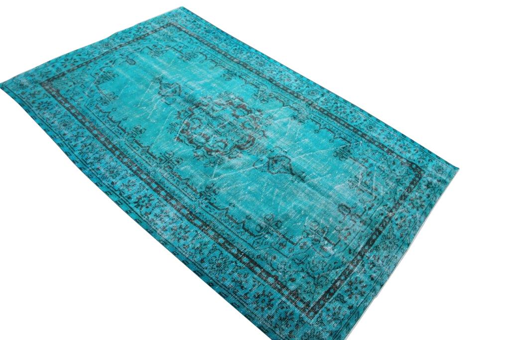 Turquoise vloerkleed vintage 270cm x 168cm nr4484