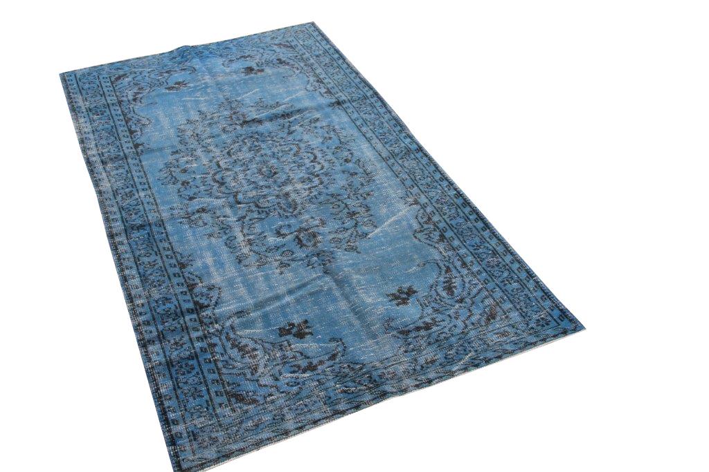 Jeansblauw vintage vloerkleed nr 4494 (255cm x 146cm)