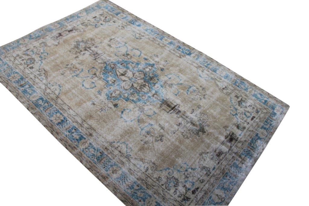 Zandkleur met blauw vintage vloerkleed nr 4510  (290cm x 190cm)