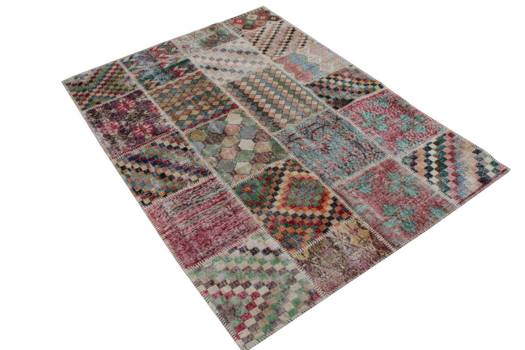 Patchwork vloerkleed   4529  (239cm x 174cm) gemaakt vintage vloerkleden incl.onderkleed van katoen.
