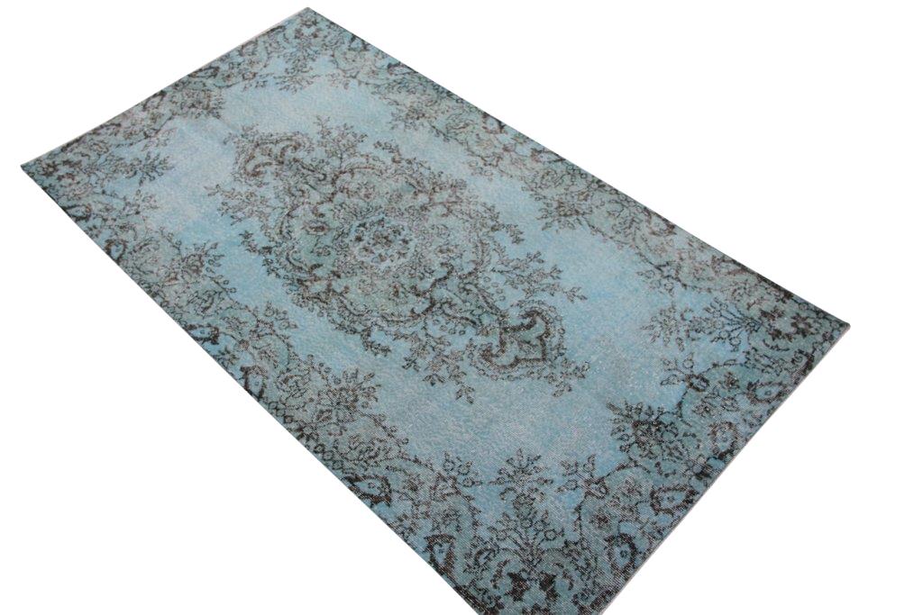 Licht blauw vintage vloerkleed nr 4531  (210cm x 117cm)