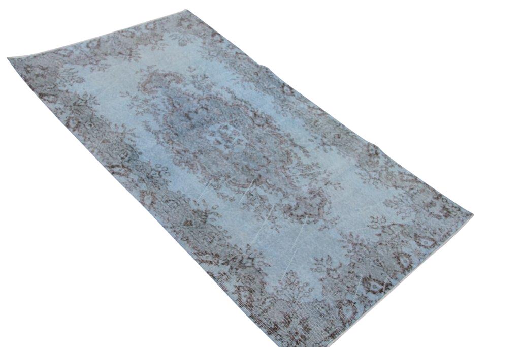 Licht blauw vintage vloerkleed nr 4558  (208cm x 118cm)