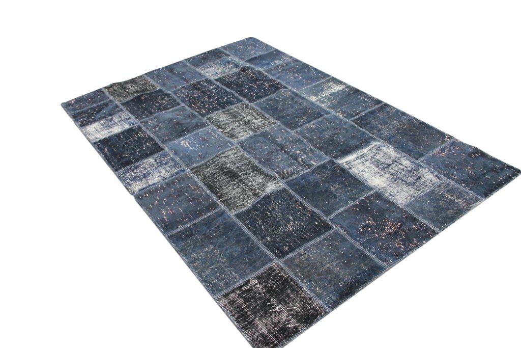 Donkerblauw patchwork vloerkleed 303 (303cm x 208cm)